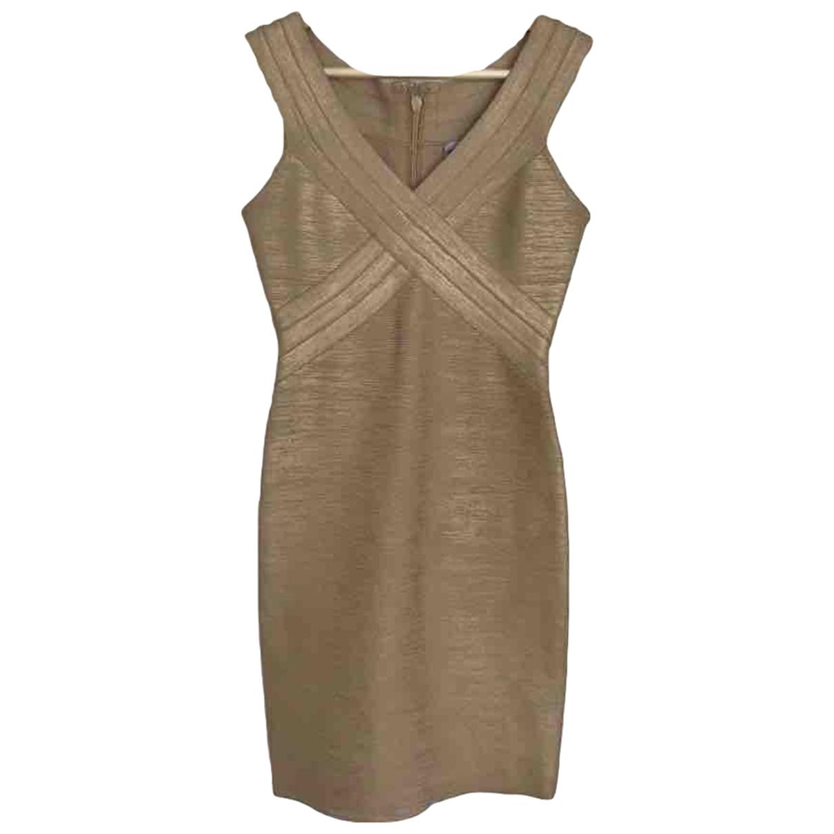 Herve Leger - Robe   pour femme en coton - elasthane - dore