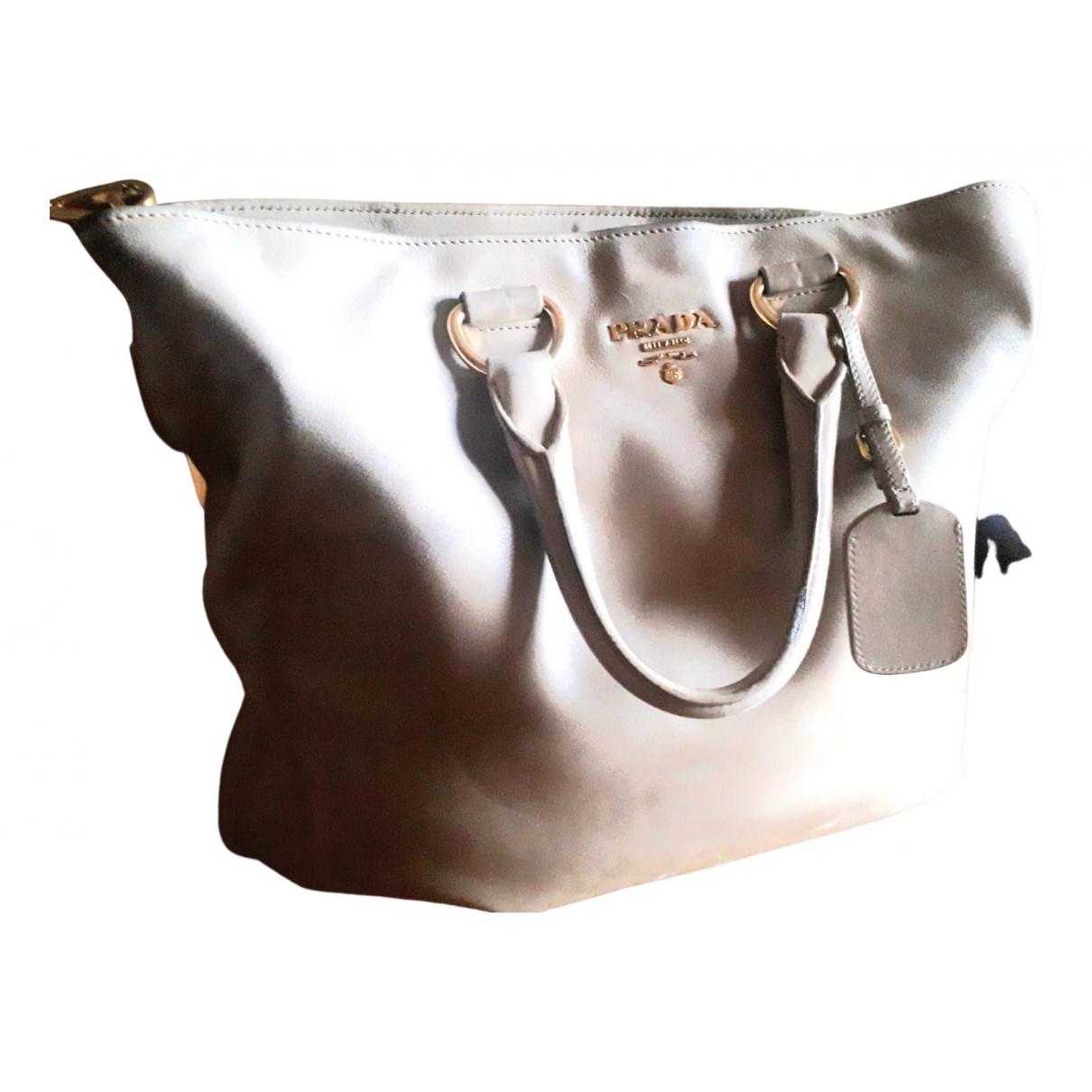 Prada - Sac a main Monochrome pour femme en cuir - beige