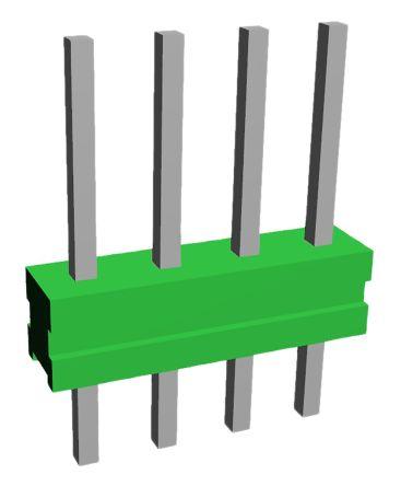 TE Connectivity , AMPMODU MOD II, 4 Way, 1 Row, Straight Pin Header (10)
