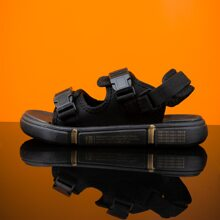 Men Release Buckle Decor Slingback Sandals
