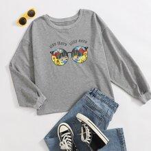 Sweatshirt mit Buchstaben & Karikatur Grafik und rundem Kragen
