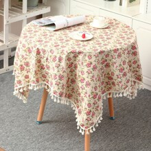 Flower Print Tassel Decor Tablecloth