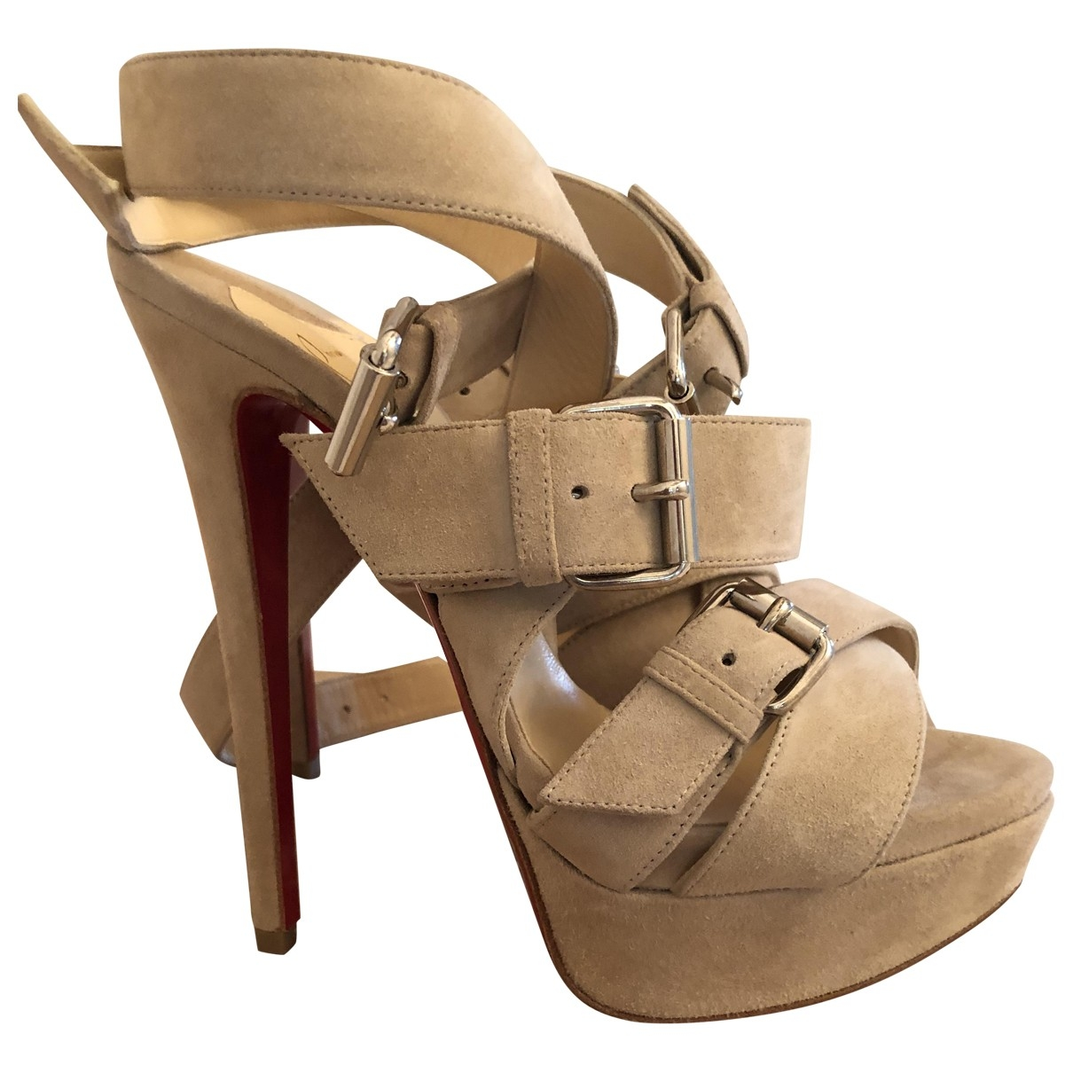 Christian Louboutin \N Beige Suede Sandals for Women 37 EU