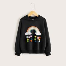Kapuzenpullover mit Regenbogen Muster, Pompon Detail und sehr tief angesetzter Schulterpartie