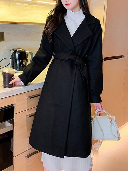 Milanoo Abrigo de mujer Cuello vuelto con cordones Cordon clasico Abrigo de lana negro Ropa de abrigo de invierno