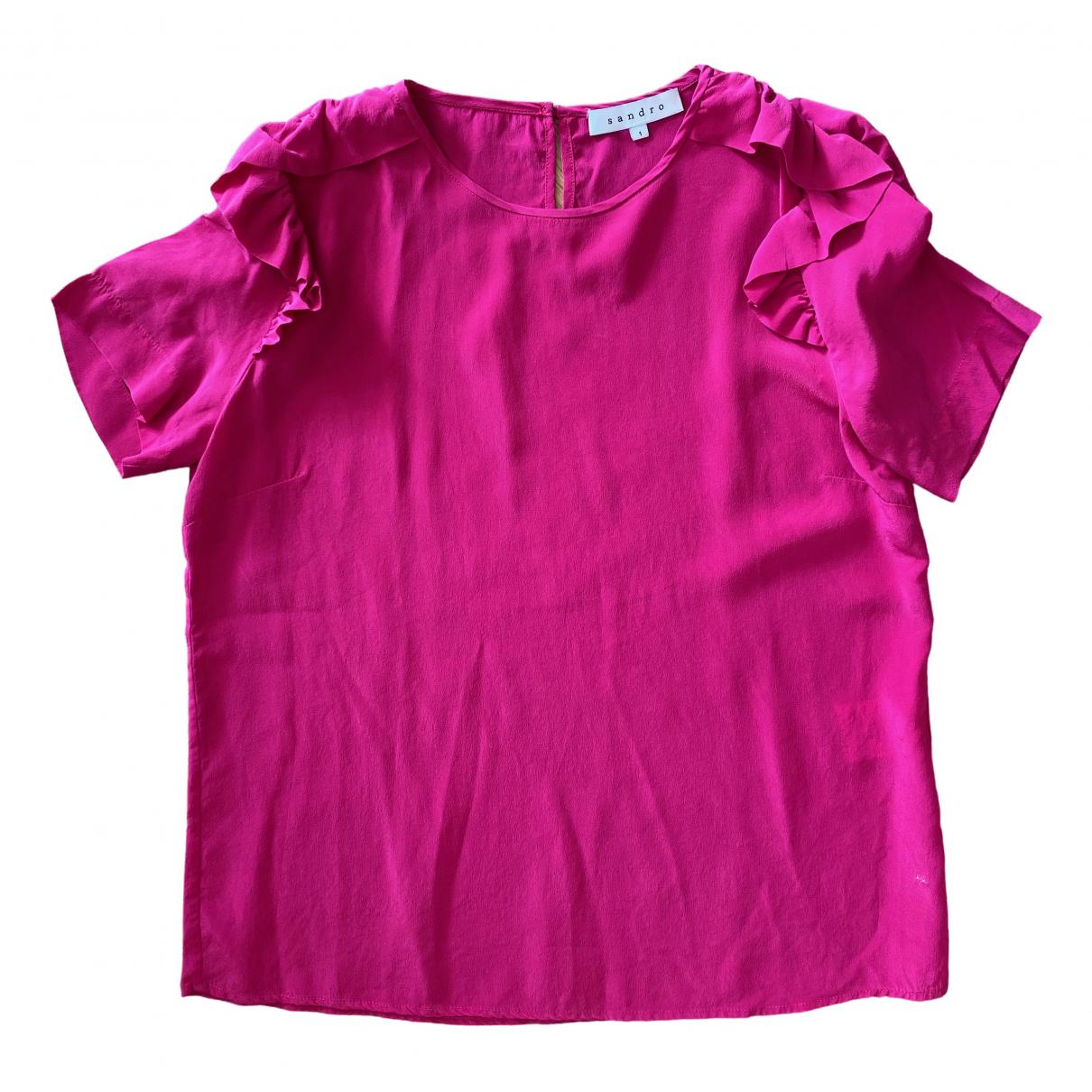 Sandro - Top   pour femme en soie - rose