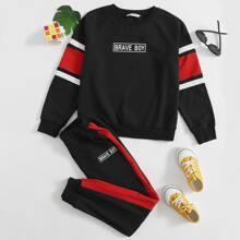 Pullover mit Buchstaben Grafik, Streifen & Jogginghose mit seitlicher Naht