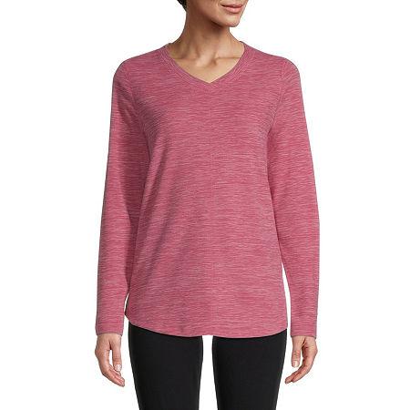 St. John's Bay-Womens V Neck Long Sleeve Polar Fleece Pullover, Small , Pink