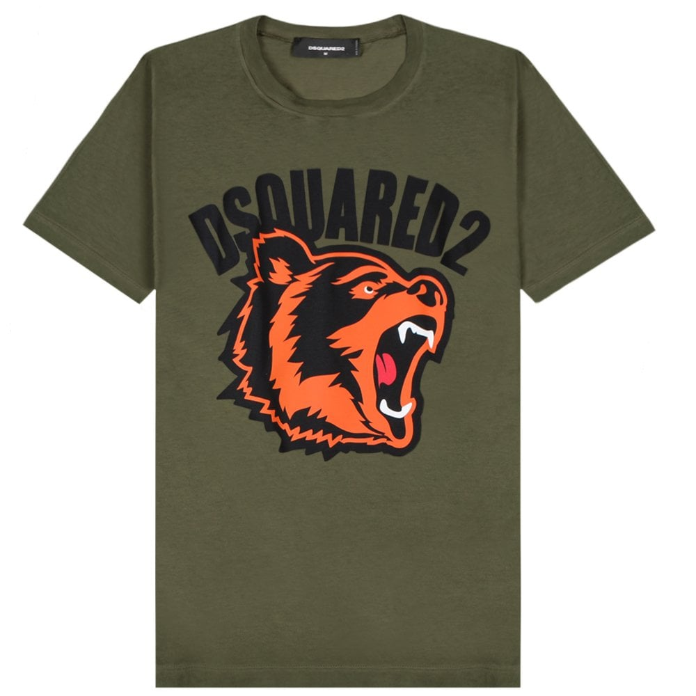 DSquared2 Printed Bear Logo T-Shirt Colour: GREEN, Size: SMALL
