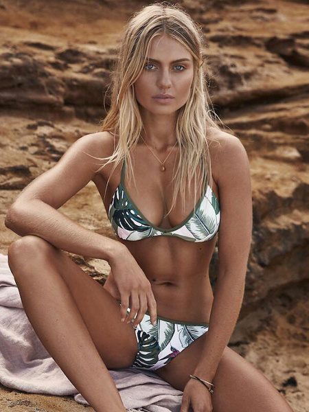 Milanoo Women Bikini Swimsuit Leaf Printed Sleeveless Green Sexy Beach Bathing Suit