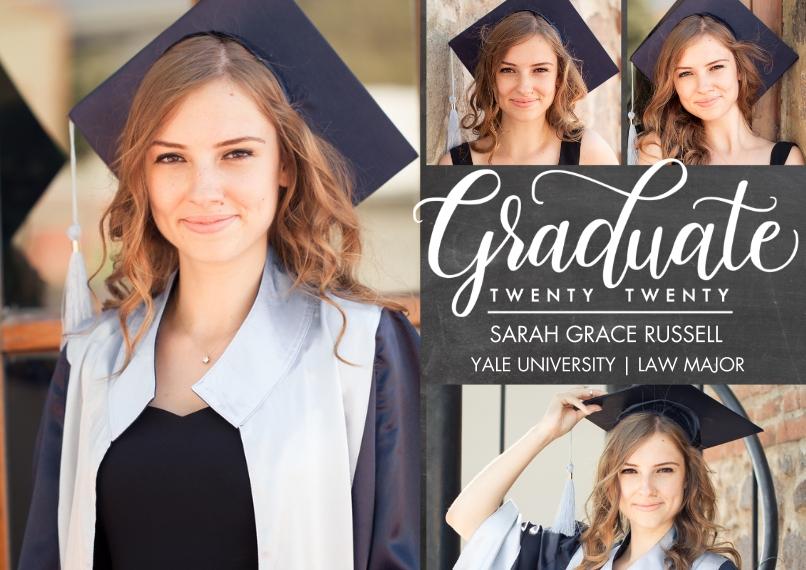 2020 Graduation Announcements 5x7 Cards, Premium Cardstock 120lb with Scalloped Corners, Card & Stationery -Graduate Twenty Twenty Script by Tumbalina