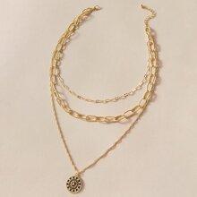 Rhinestone Coin Layered Chain Necklace