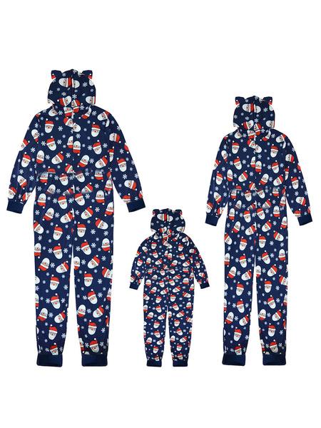 Milanoo Matching Family Christmas Pajamas Santa Clause Dark Navy Jumpsuit