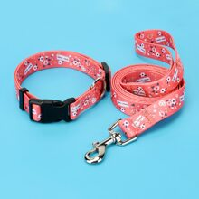 1pc Dog Floral Print Collar With 1pc Leash