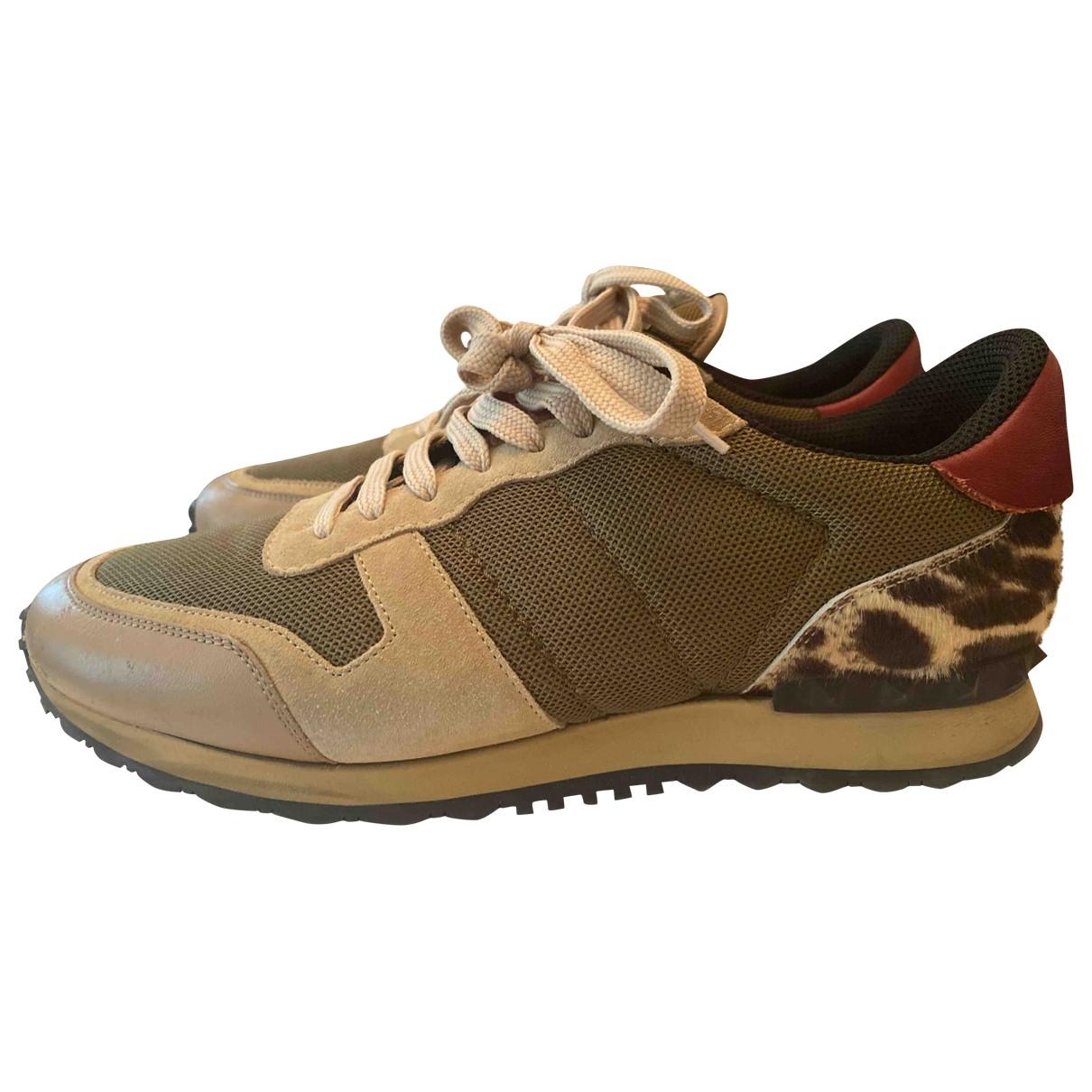 Valentino Garavani Rockrunner Sneakers in  Beige Leder