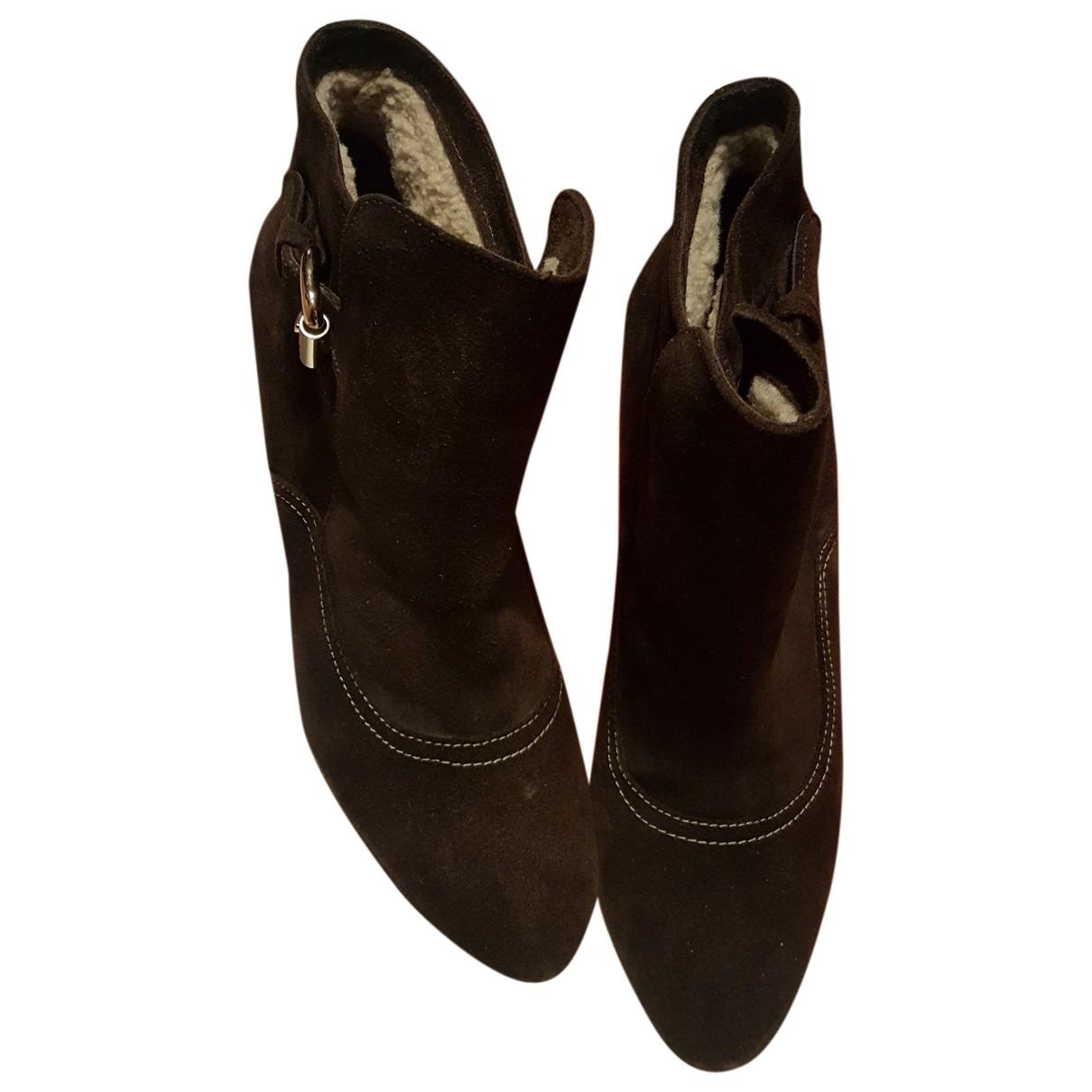 Carolina Herrera - Boots   pour femme en suede - marron