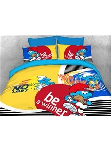 Smurf Sports Activity Twin 3-Piece Kids Bedding Sets/Duvet Covers