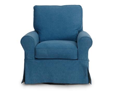 SU-114993-410046 Horizon Slipcovered Swivel Chair in Indigo