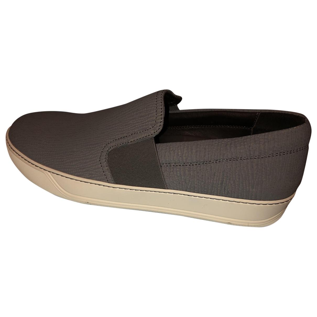 Lanvin - Baskets   pour homme en cuir - gris
