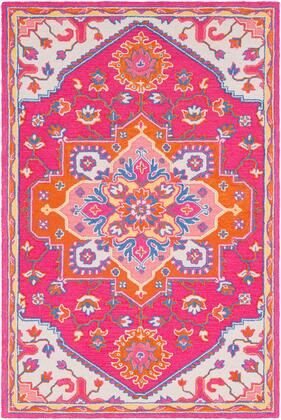 Technicolor TEC-1006 2' x 3' Rectangle Traditional Rugs in Bright Pink  Bright Orange  Dark Blue  Rose  Ivory