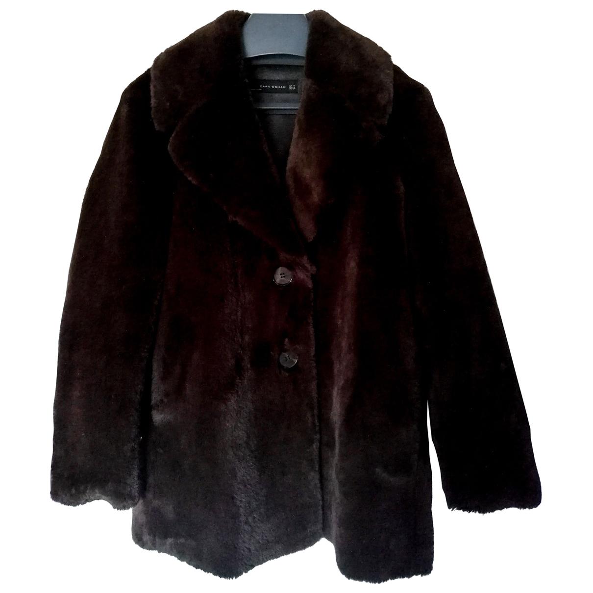 Zara \N Brown Leather coat for Women 36 FR