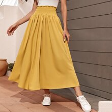 Frill Shirred Waist Solid Skirt