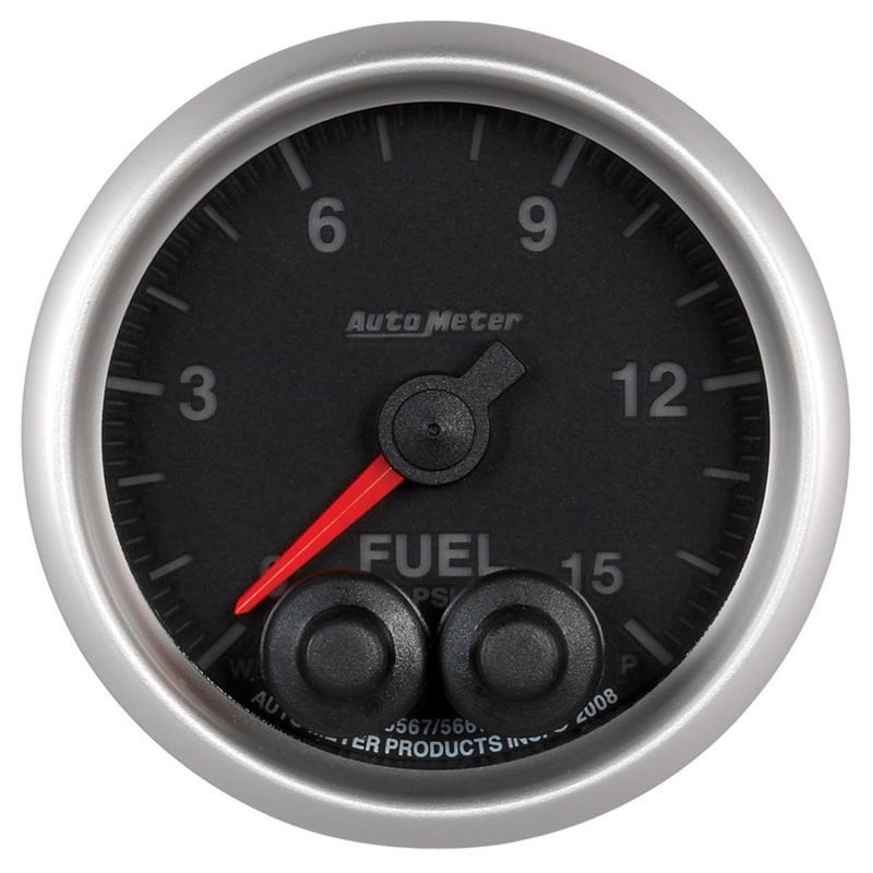 AutoMeter GAUGE; FUELP; 2 1/16in.; 15PSI; STEPPER MOTOR W/PEAK/WRN; ELITE; W/O PRO-CONTROL