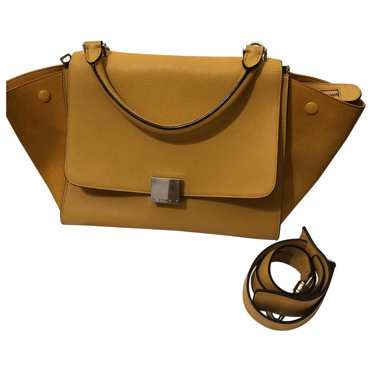 Celine Trapèze Yellow Leather handbag for Women \N