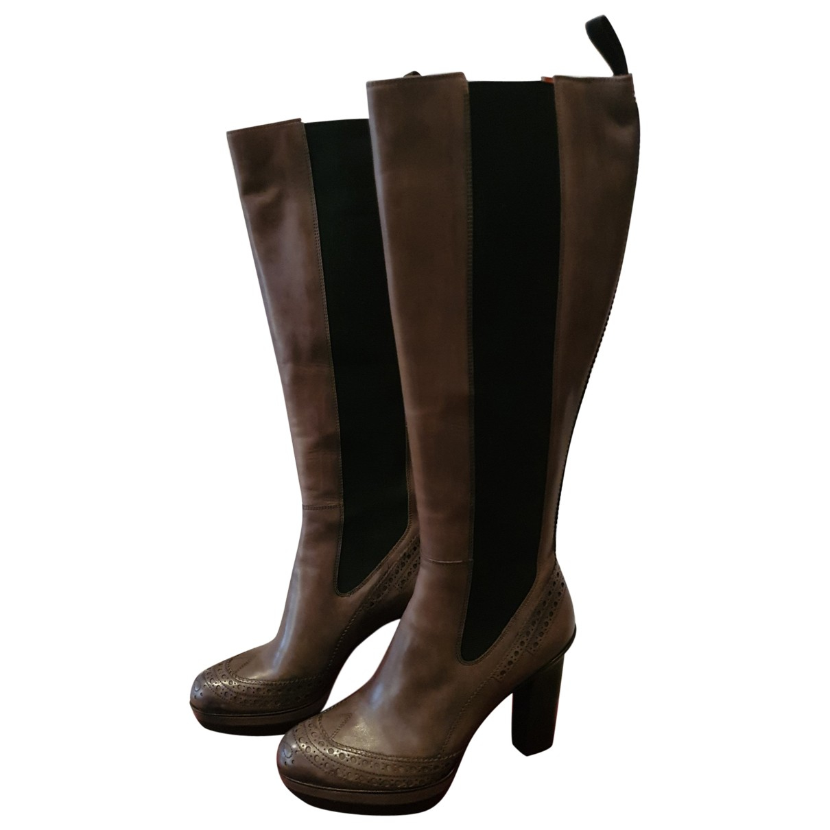 Santoni N Brown Leather Boots for Women 36.5 IT