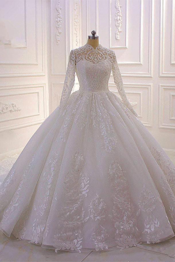 Vestido de novia de encaje brillante con cuello alto y mangas largas Tull
