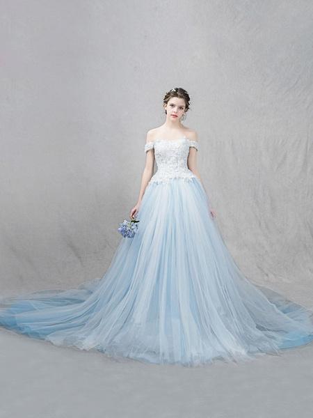 Milanoo Vestidos de novia de lujo con escote de hombros caidos Con cola con manga corta De banda de encaje de linea A Azul menta de tul