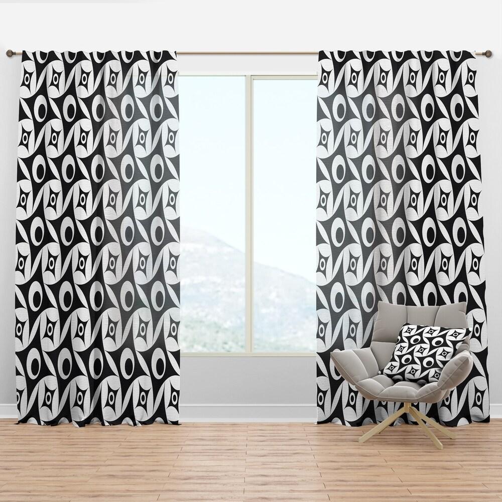 Designart 'Monochrome Geometric Pattern VII' Mid-Century Modern Curtain Panel (50 in. wide x 84 in. high - 1 Panel)
