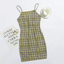 Slip Kleid mit Plaid Muster