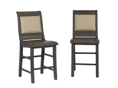 Willow D801-64 Upholstered Counter Chairs (Set of 2) with Stretchers  Nail Head Accents and Fabric Upholstery in Distressed Dark