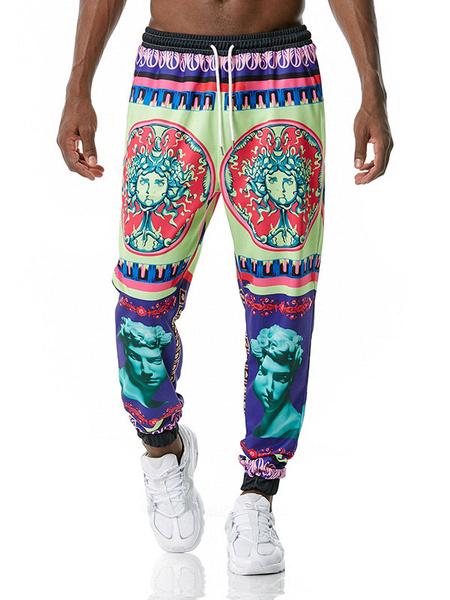 Milanoo Men\'s Trousers Palace Retro Printed No Waistline Straight Sweatpants Royal Purple Men\'s Pants