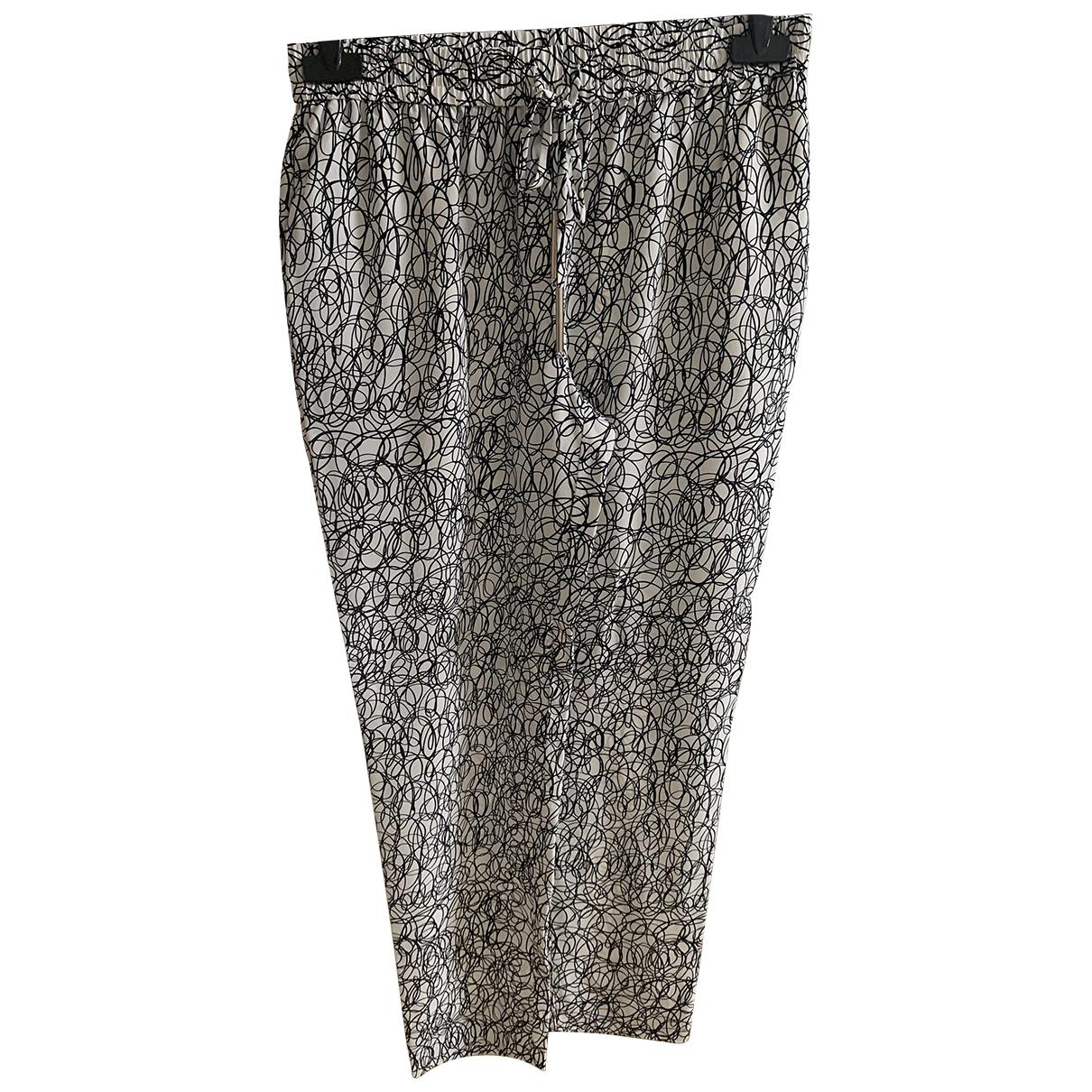 Diane Von Furstenberg \N Grey Silk Trousers for Women 2 US