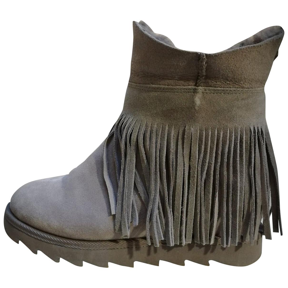 Ash - Boots   pour femme en suede - gris