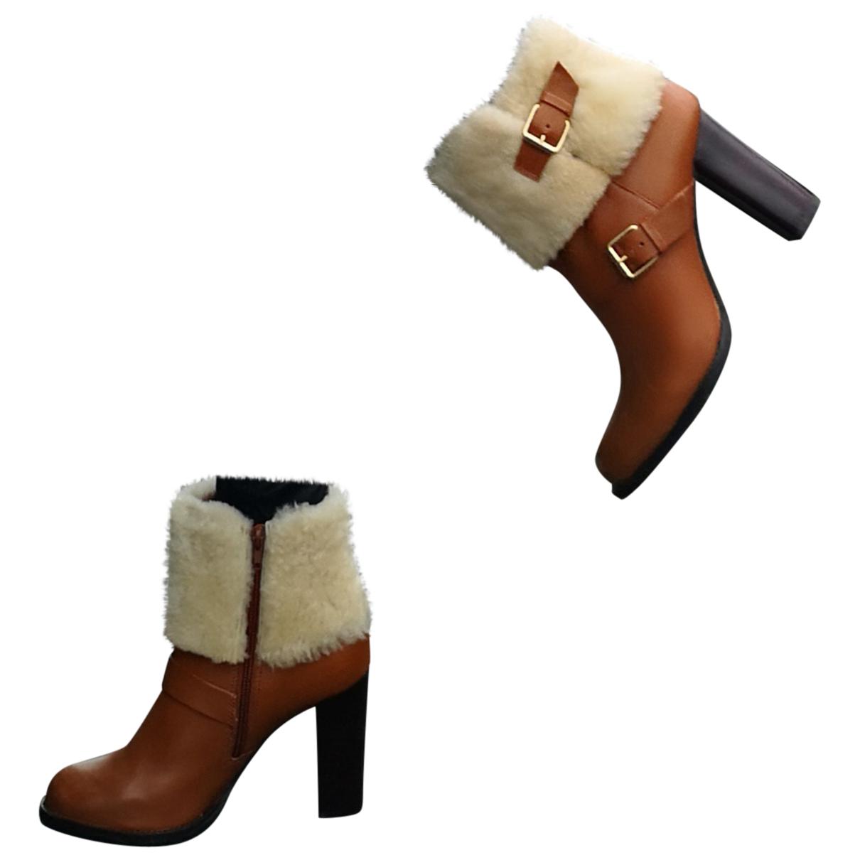 Minelli - Boots   pour femme en cuir - camel