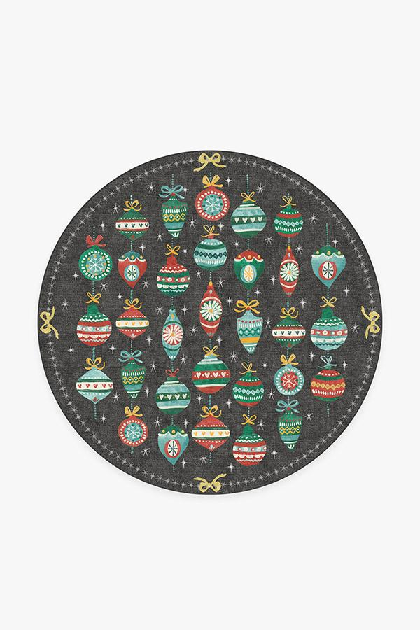 Washable Rug Cover | Festive Garland Multicolor Rug | Stain-Resistant | Ruggable | 6' Round