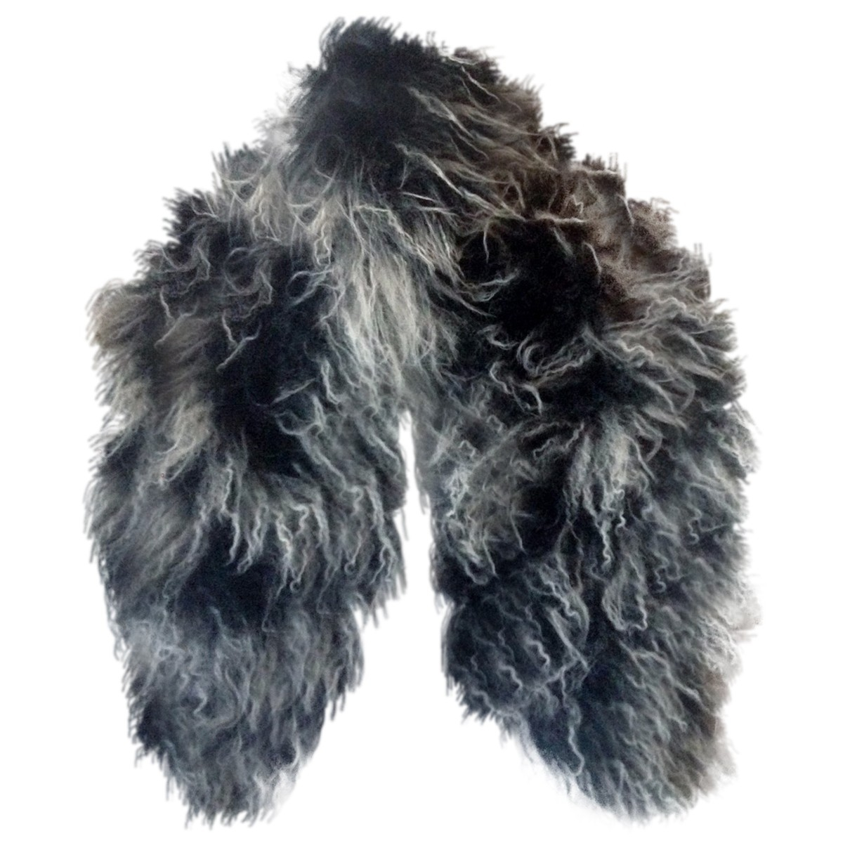 Non Signé / Unsigned \N Grey Mongolian Lamb scarf for Women \N