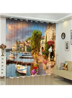 Beautiful Retro Buildings Printed European Style Thick Polyester Custom 3D Curtain