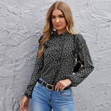 Buttoned Front Ruffle Trim Ditsy Floral Blouse