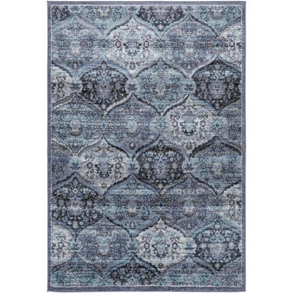 City Light CYL-2325 67 x 9 Rectangle Traditional Rug in Denim  Black  Aqua  Charcoal  Light