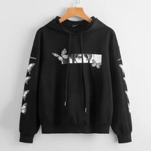 Butterfly and Figure Graphic Pouch Pocket Hoodie