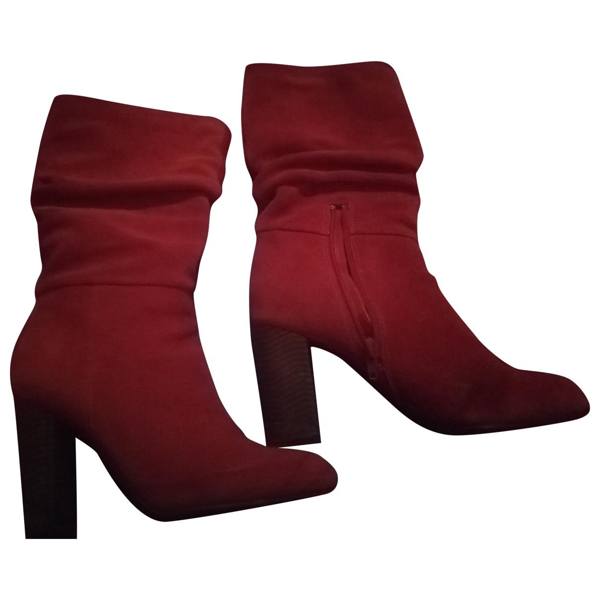 Zara - Boots   pour femme en velours - rouge