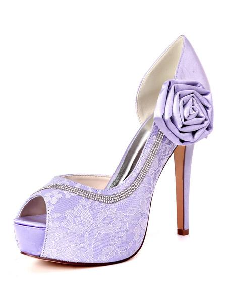 Milanoo Ivory Wedding Shoes Lace Platform Peep Toe Rhinestones High Heel Bridal Shoes