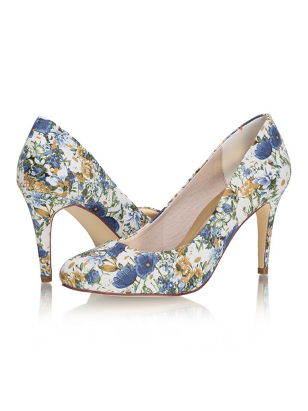 Milanoo Women's High Heels Floral Printed Stiletto Heel Romantic Blue Pumps