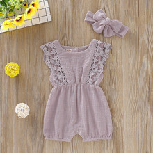 Toddler Girls Contrast Lace Romper & Headband