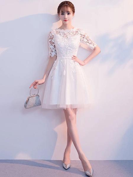 Milanoo Short Prom Dresses Lace Tutu Homecoming Dress Half Sleeve Graduation Dress