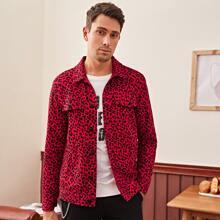 Jacke mit Taschen Klappe und Leopard Muster